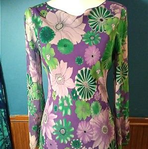 1990's Purple Green Bohemian Silk Flower Print Top